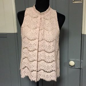 Love, Fire Light Pink Lace High Neck Blouse